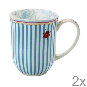 Porcelánový hrnek na kávu Stripie od Lisbeth Dahl, 2 ks