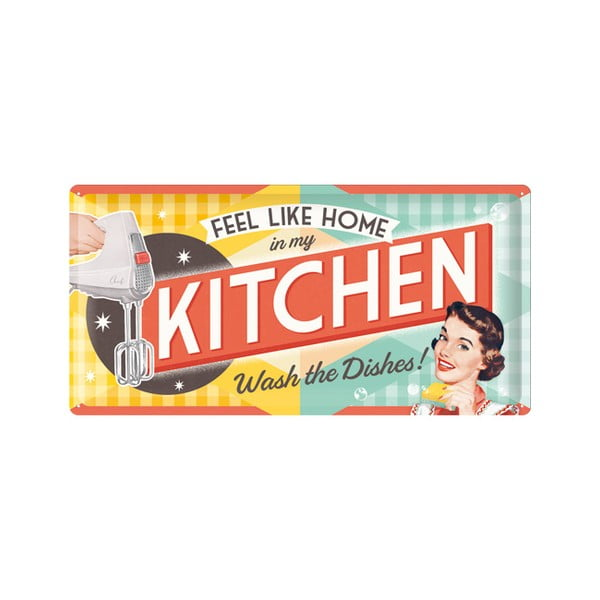 Plechová cedule Kitchen, 25x50 cm