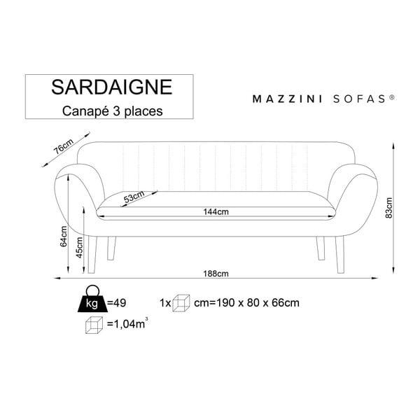 Světle růžová trojmístná pohovka se světlými nohami Mazzini Sofas Sardaigne