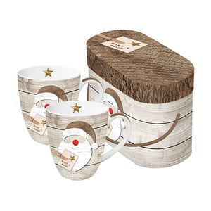Sada 2 hrnků z kostního porcelánu s vánočním motivem v dárkovém balení PPD Santa Red Nose, 350 ml