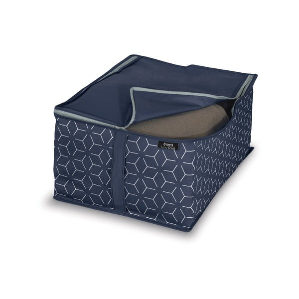 Tmavě modrý úložný box Domopak Metrik, 40x30cm