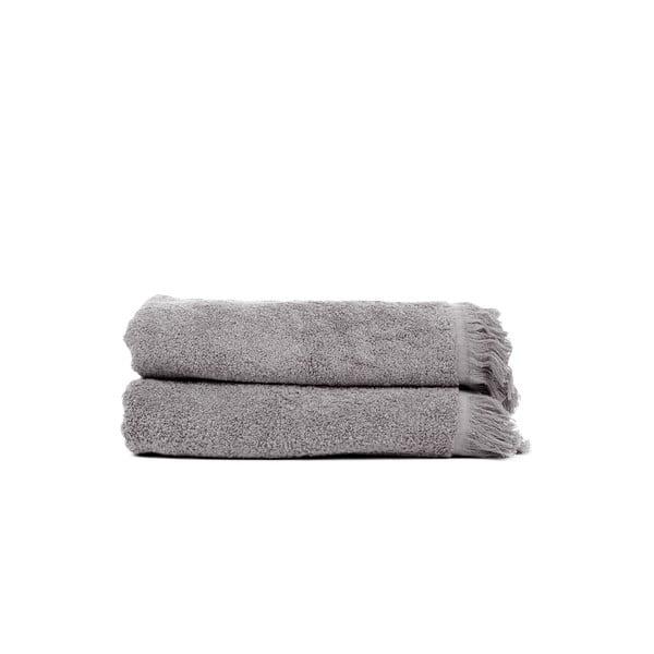 Sada 2 šedých bavlněných osušek Casa Di Bassi Soft, 70 x 140 cm