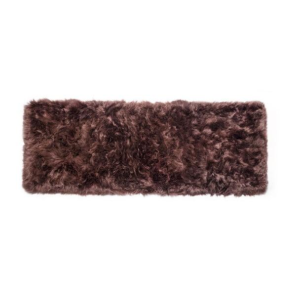 Tmavě hnědý koberec z ovčí vlny Royal Dream Zealand Long, 70x190cm