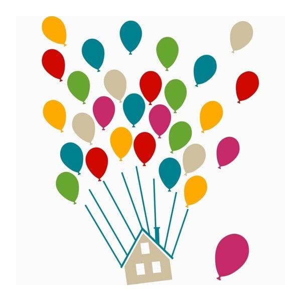 Sada nástěnných samolepek House With Balloons Multi