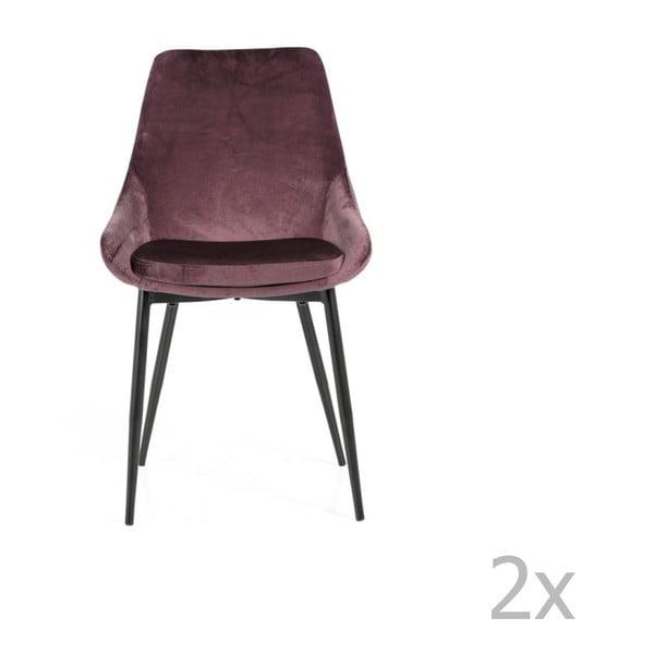 Sada 2 ružových jedálenských stoličiek sa zamatovým poťahom Tenzo Lex