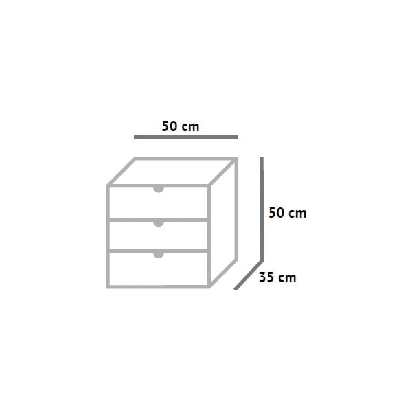 Skříňka se třemi zásuvkami Fam Fara, 50x50 cm