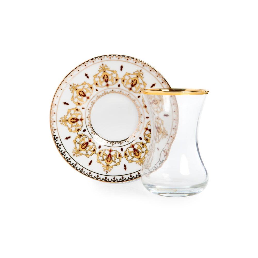 Set sklenice a podšálku Vivas Gold Ceramic Decor, 100 ml