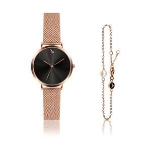 Set dámských hodinek a náramku z nerezové oceli v růžovozlaté barvě Emily Westwood Claro