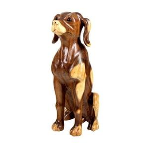 Dekorace z teakového dřeva Massive Home Dog, výška52cm
