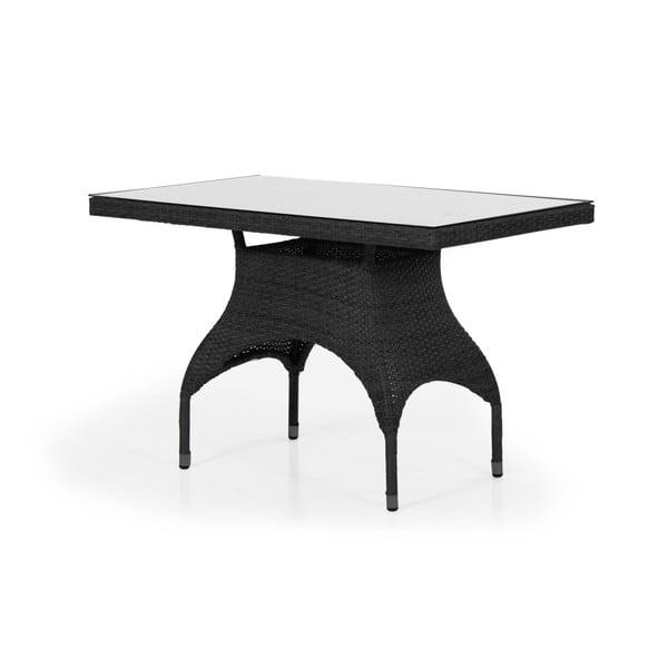 Černý zahradní stolek se skleněnou deskou Brafab Ninja, 110x65cm