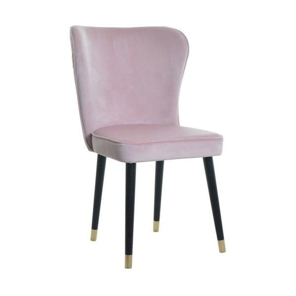 Růžová jídelní židle s detaily ve zlaté barvě JohnsonStyle Odette Mil