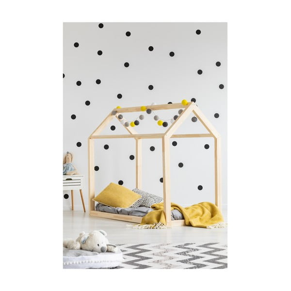 Cadru pat din lemn de pin, în formă de căsuță Adeko Mila MN, 80 x 180 cm