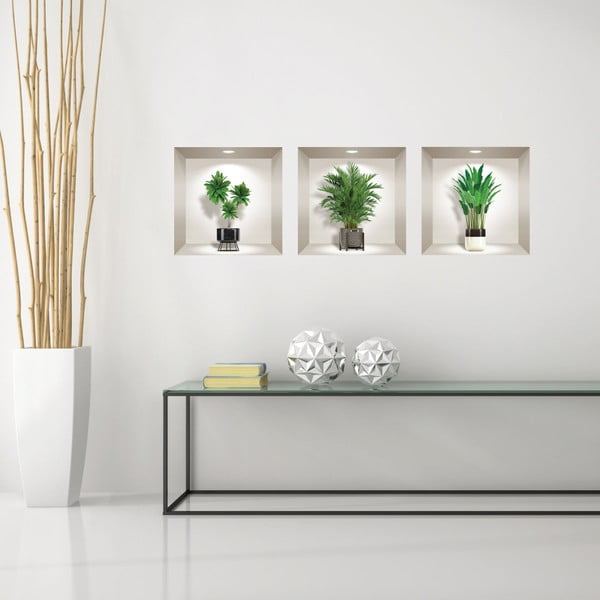 Set 3 autocolante 3D pentru perete Ambiance Indoor Plants