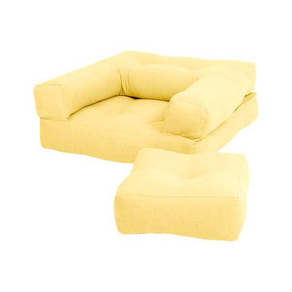 Fotoliu extensibil pentru copii cu taburet Karup Design Mini Cube Yellow