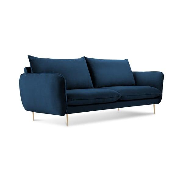 Canapea cu tapițerie din catifea Cosmopolitan Design Florence, albastru închis