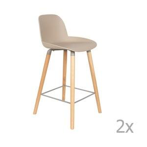 Sada 2 béžovošedých barových židlí Zuiver Albert Kuip, výška sedu 65cm