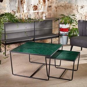 Sada 2 konferenčních stolků s podnožím v černé barvě a zelenou mramorovou deskou RGE Stella