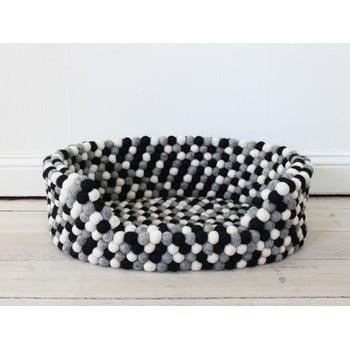 Pat cu bile din lână, pentru animale de companie Wooldot Ball Pet Basket, 80 x 60 cm, alb - negru imagine
