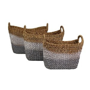 Sada 3 pletených košů z vodního hyacintu HSM Collection Cilly