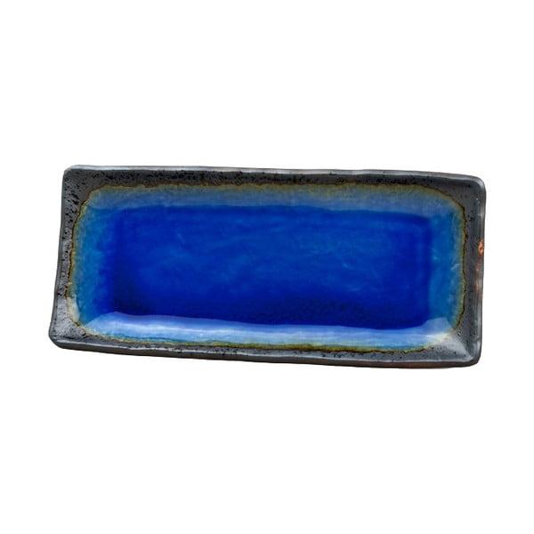 Niebieski półmisek ceramiczny MIJ Cobalt, 29x12 cm