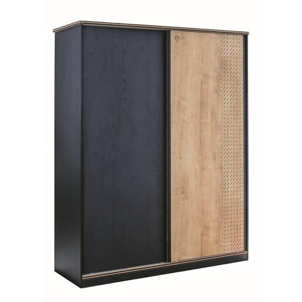 Black Sliding Wardrobe fekete ruhásszekrény, natúr színű ajtóval