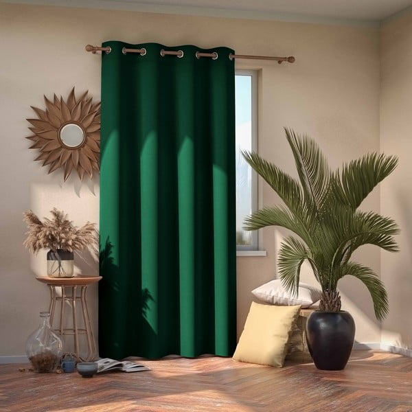 Tmavě zelený zatemňovací závěs AmeliaHome Eyelets Dark Green, 140 x 245 cm