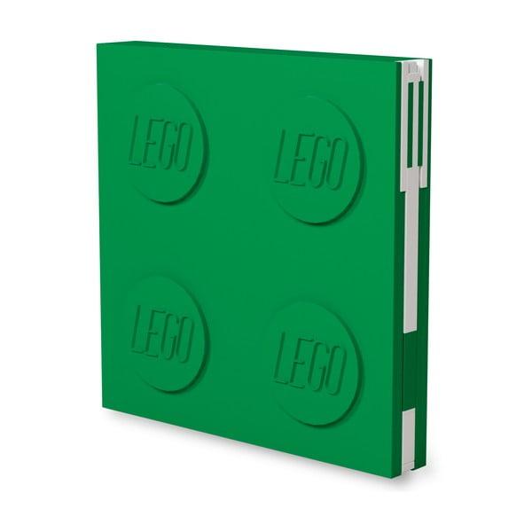 Fľaškovozelený štvorcový zápisník s gélovým perom LEGO®, 15,9 x 15,9 cm