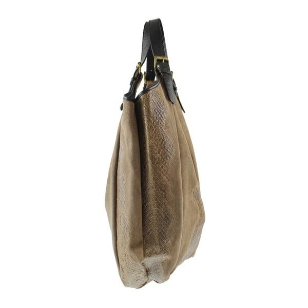 Hnědá kožená kabelka Chicca Borse Irene