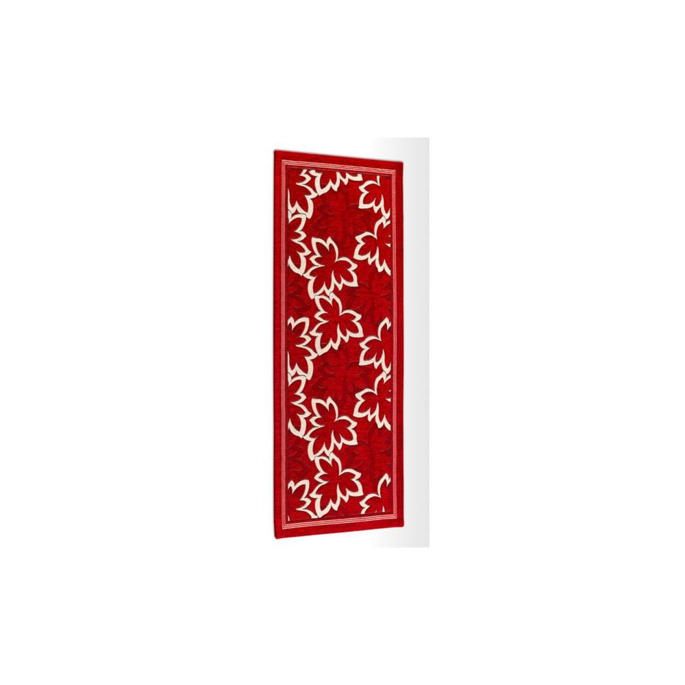 Červený vysoce odolný kuchyňský koberec Webtappeti Maple Rossoe Rosso,55x190cm