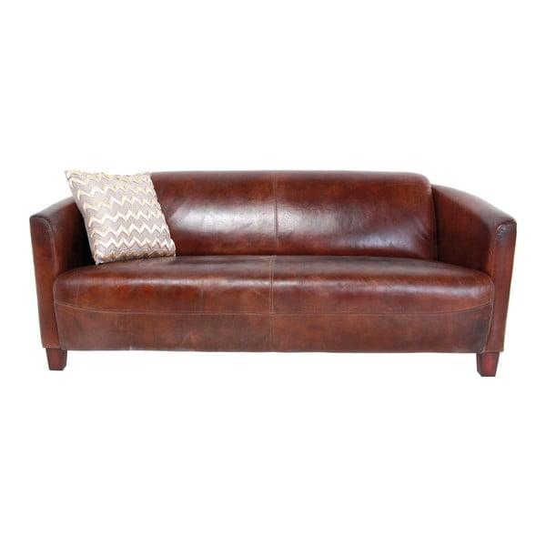 Lounge barna háromszemélyes kanapé valódi marhabőr borítással - Kare Design