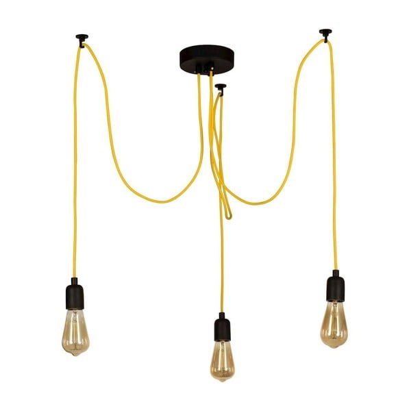 Žluté závěsné svítidlo Wire Hanging Lamp Larro, 3 žárovky