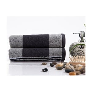 Sada 2 ručníků Stripe Grey, 45x90 cm