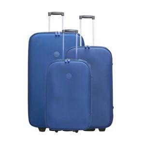 Sada 3 modrých cestovních kufrů na kolečkách Travel World Let´s Go