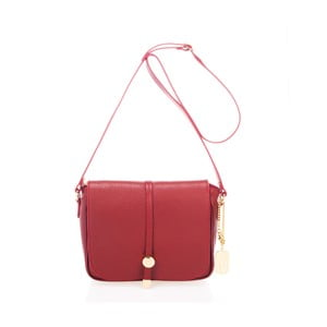 Červená kabelka z pravé kůže Federica Bassi Prizzo
