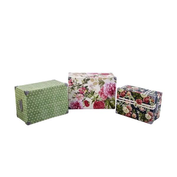 Sada 3 úložných krabic Flowers and Dots