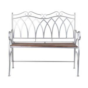 Světle šedá kovová zahradní lavice s dřevěným sedátkem Ewax Wood