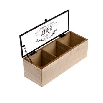 Cutie din lemn pentru ceai cu 3 compartimentei Dakls, 22,5x8cm imagine