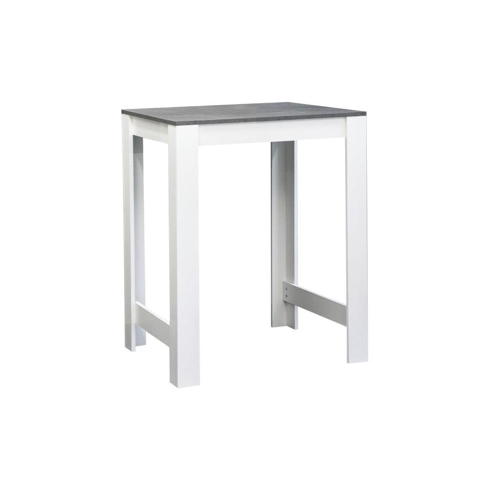 Bílý jídelní stůl s deskou v dekoru betonu Symbiosis Sulens, šířka 70 cm