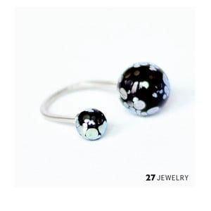 Silver Splash dvojitý prsten ze skla, vel. M