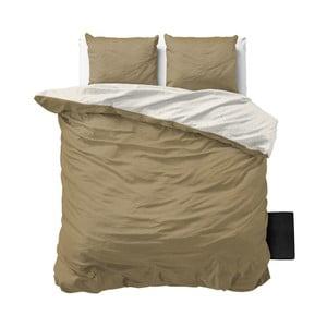 Lenjerie de pat din micropercal Sleeptime Twin Face, 200 x 200 cm, bej - alb