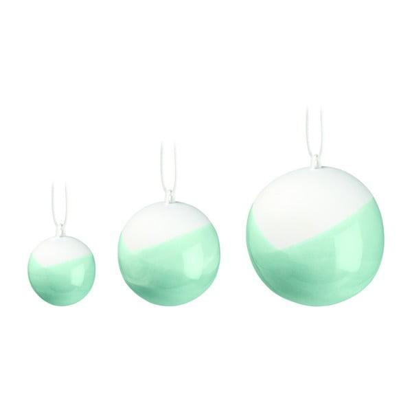 Set 3 decorațiuni din porțelan chinezesc pentru pomul de Crăciun Kähler Design Nobili, verde