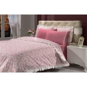 Sada povlečení a prostěradla In Love Bouquet Pink, 200x220 cm