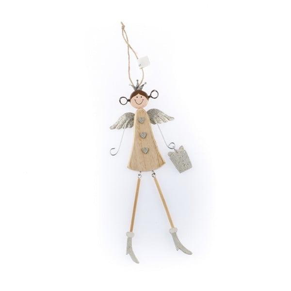 Dřevěná závěsná dekorace ve tvaru anděla Dakls Angelina