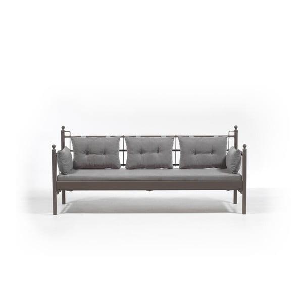 Canapea cu 3 locuri de grădină Lalas DKS, 96 x 209 cm, gri-maro