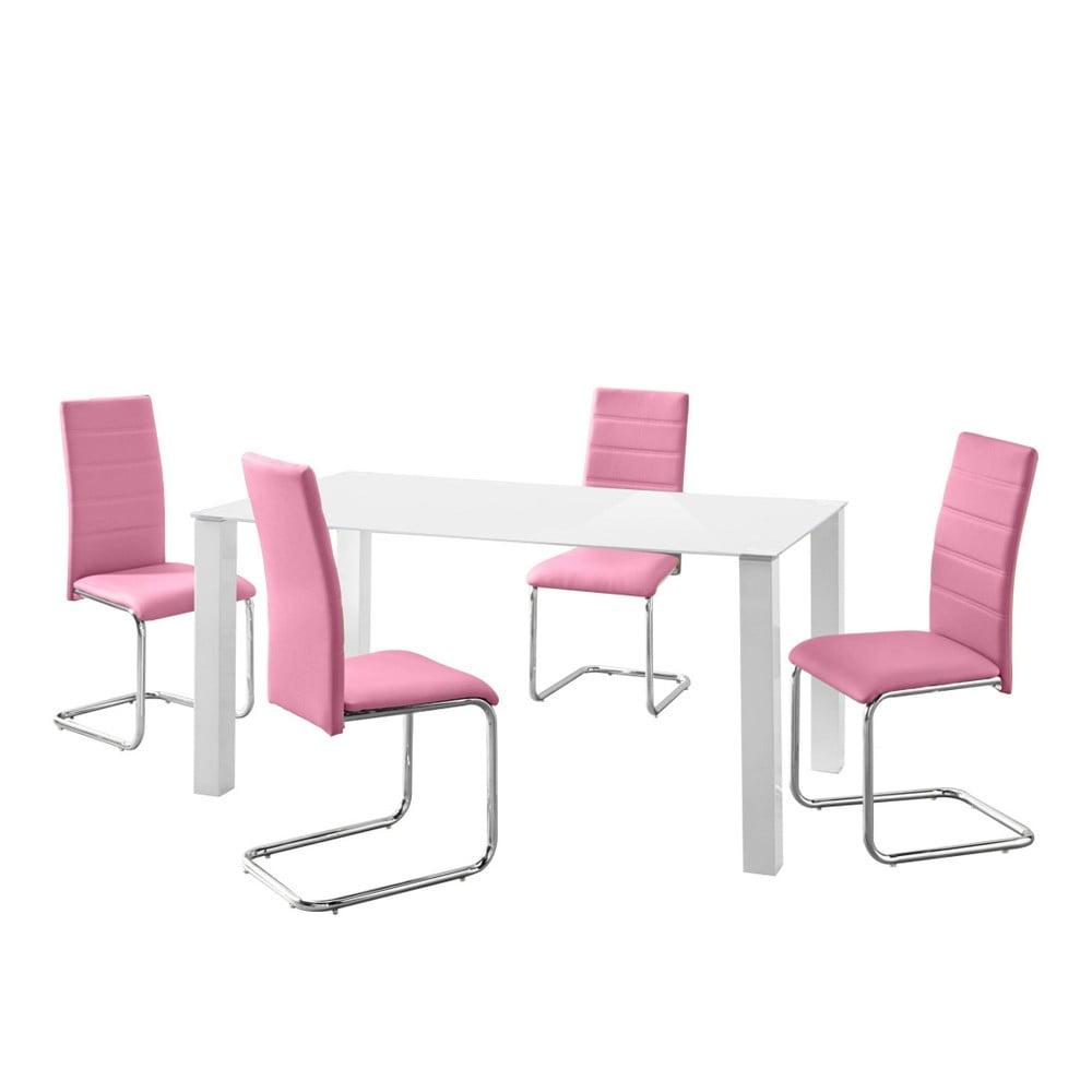 Sada stolu a 4 růžových židlí Støraa Naral