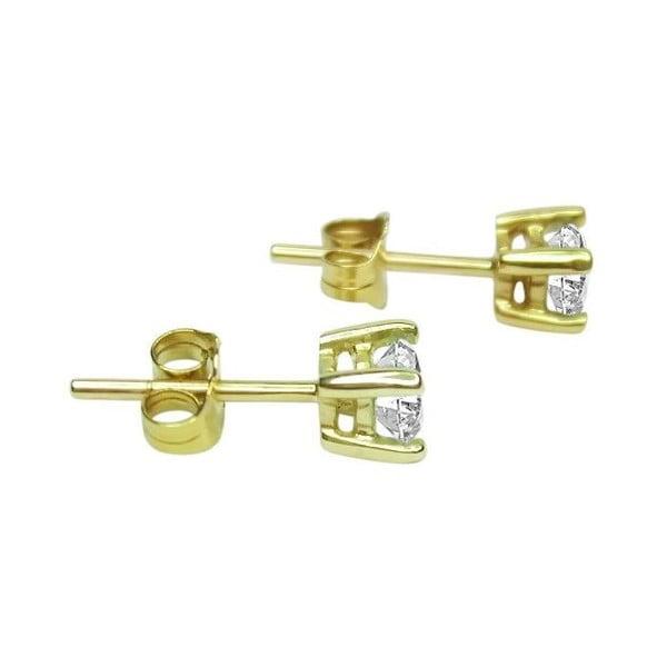Náušnice Four Prong s diamantem, zlaté