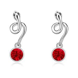 Náušnice s červenými krystaly Swarovski a bílým zlatem Serpiento