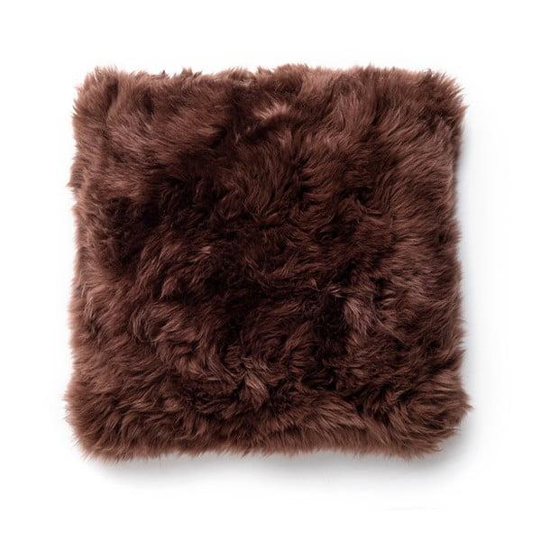 Hnědý polštář Royal Dream Sheepskin,45x45cm