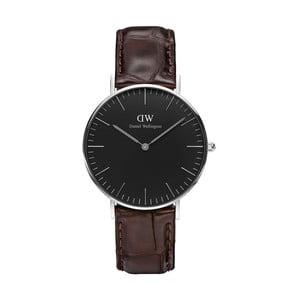 Unisex hodinky s hnědým páskem Daniel Wellington York Silver, ⌀36mm