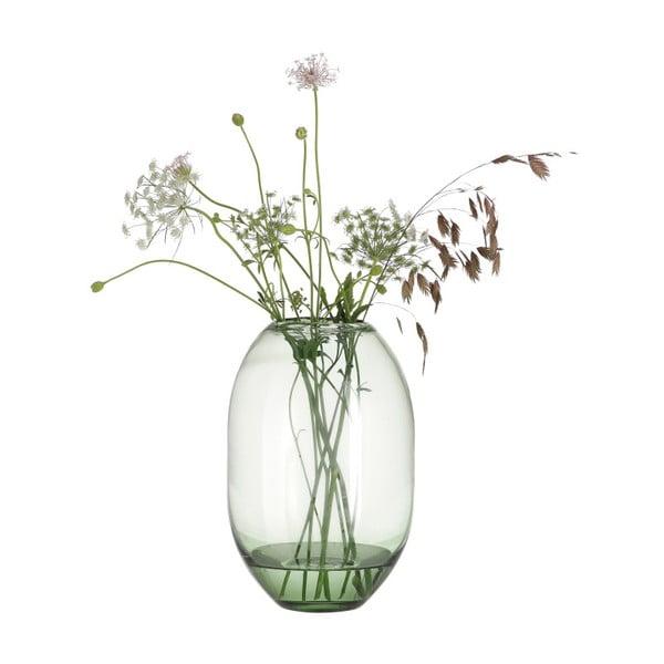 Zelená skleněná váza A Simple Mess Hedge, výška29cm